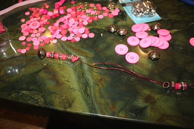 Making the pink button keychain