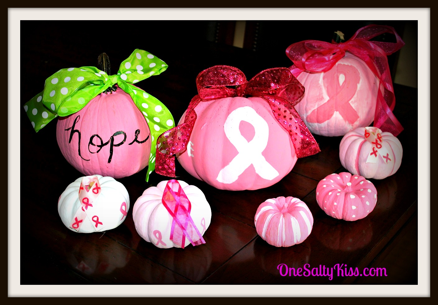 easy painted pumpkins for breast cancer awareness