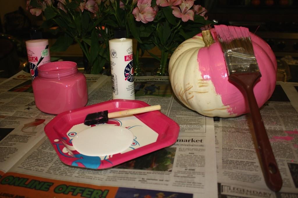 Easy Pink Painted Pumpkins